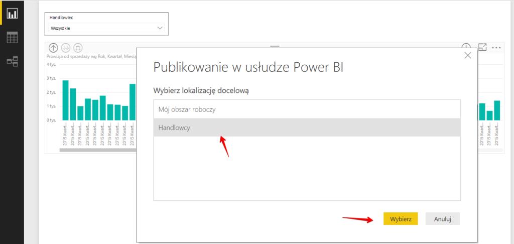 Publikowanie raportu z Power BI Desktop do wskazanego obszaru roboczego